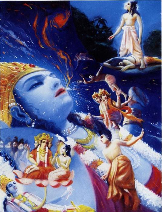 Narada Muni enters the water of devastion