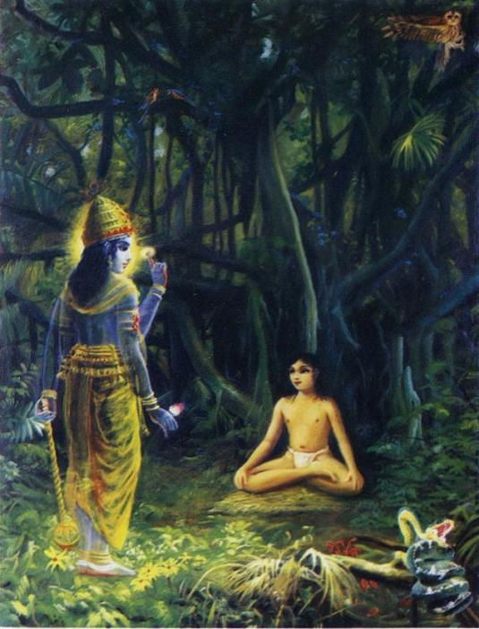 Young Narada Muni with Lord Narayana