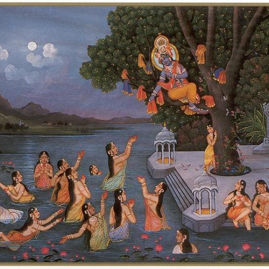 Krishna stealing the cloths of the Gopis