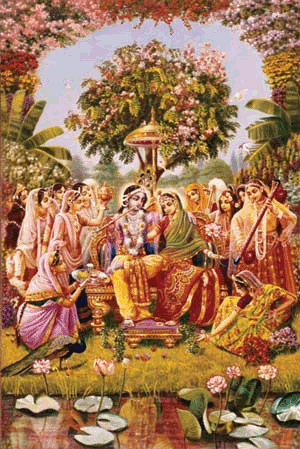 Radha Krishna on the Transcendental seat known as Svetadvipa