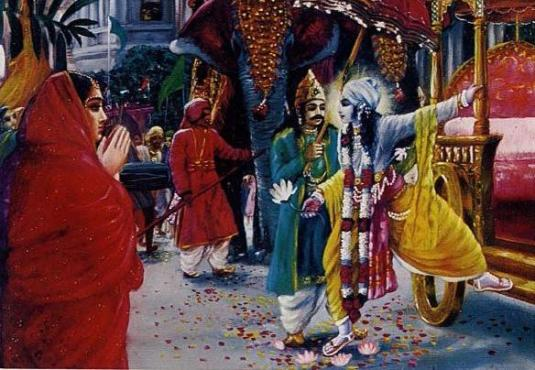 Krishna leaves Hastinipur