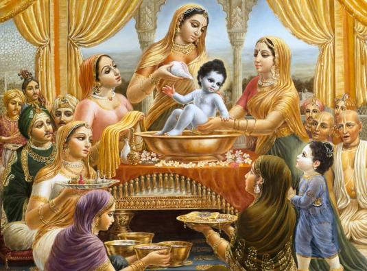 Mother Yashoda bathes Krishna