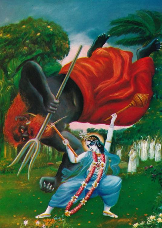 Balarama killing demon with plow