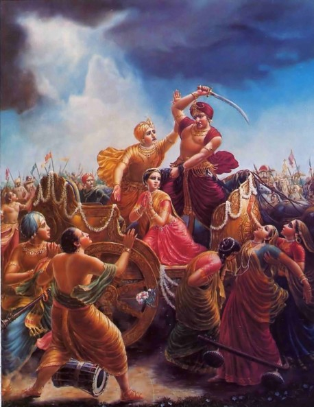 Kamsa about to kill Devaki but was pacified by Vasudeva