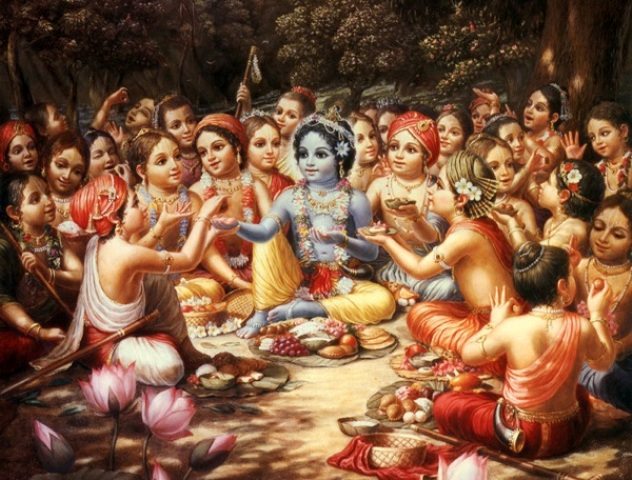 Krsna & the cowheard boys taking Prasadam