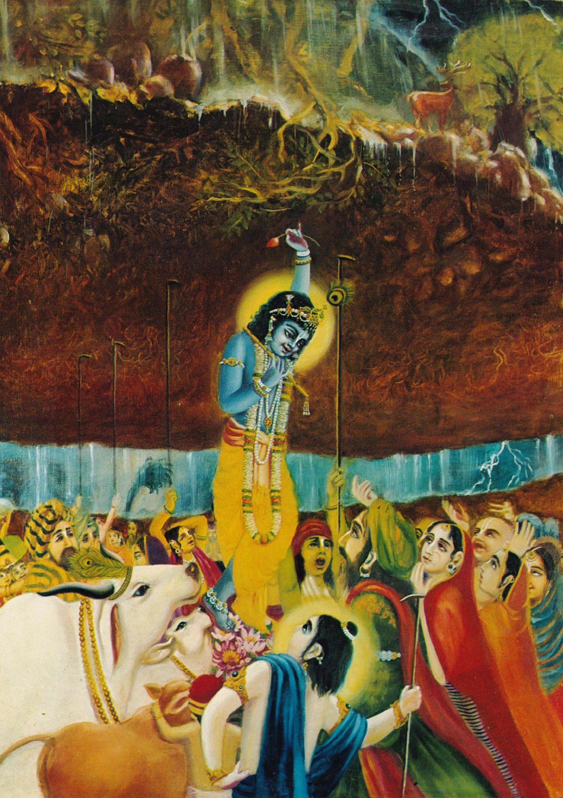 Krsna lifting govardhan hill1
