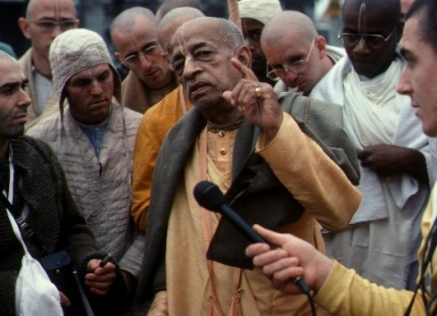 Srila Prabhupada on morning walk