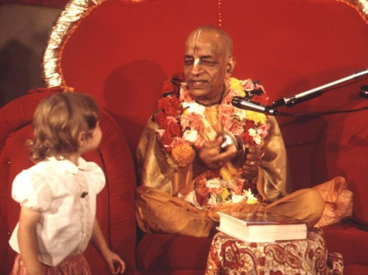 Srila Prabhupada with young vaisnava