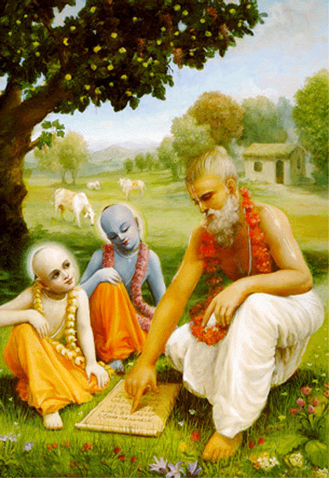 Krsna and Balarama with their teacher Sandipani Muni