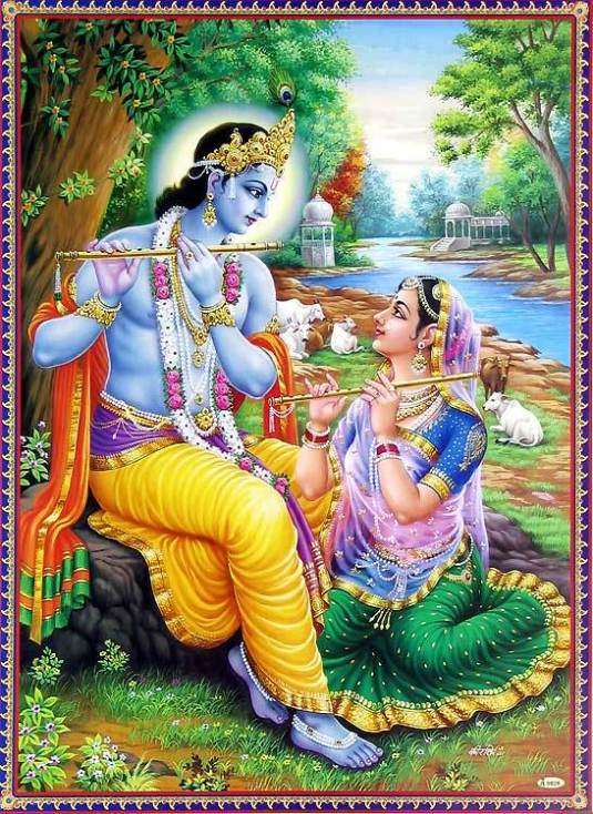 radha-learning-flute-from-krishna