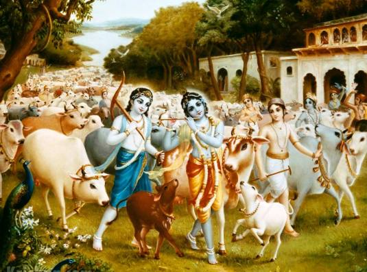 Krishna and Balarama tend the cows and bulls