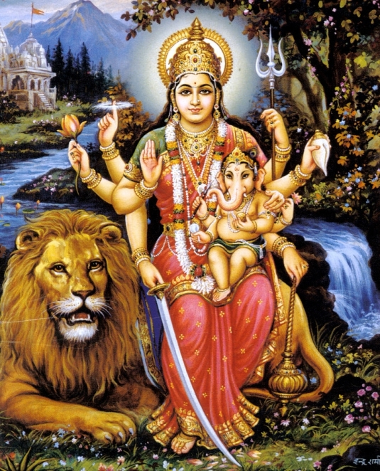 Ganesh-with-his-two-mothers-Parvati-and-Ganga