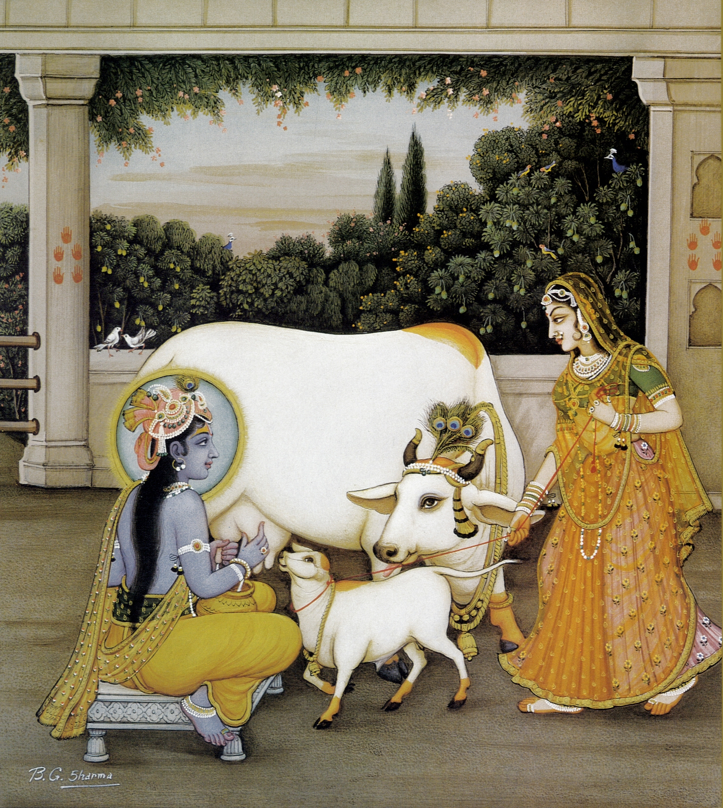 Krishna milking a cow