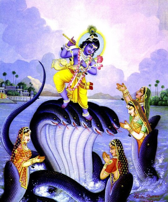 Krsna dancing on head of Kali serpent