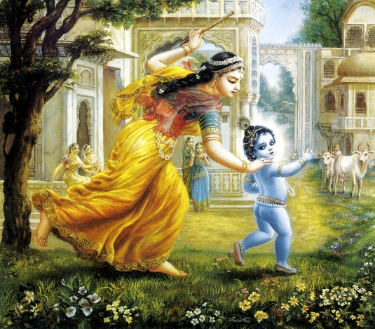 Yashodha-chases-Krishna-to-punish-him.-Krishna-likes-playing-as-an-ordinary-naughty-boy-to-please-his-devotee1a