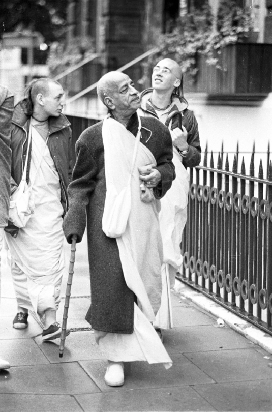 Srila Prabhupada on morning walk in London