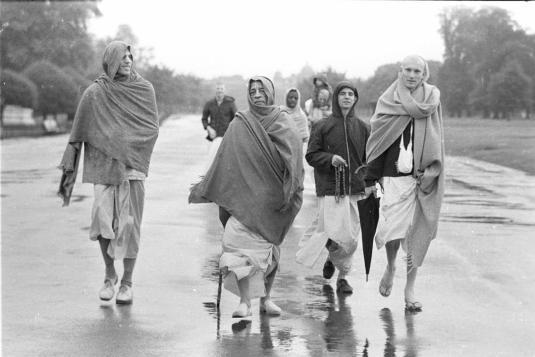 morning walk with Srila Prabhupada