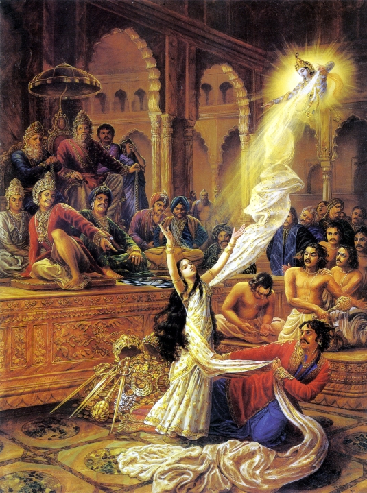 Draupadi saved by Krsna