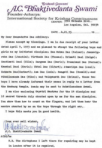 Letter to Hansadutta