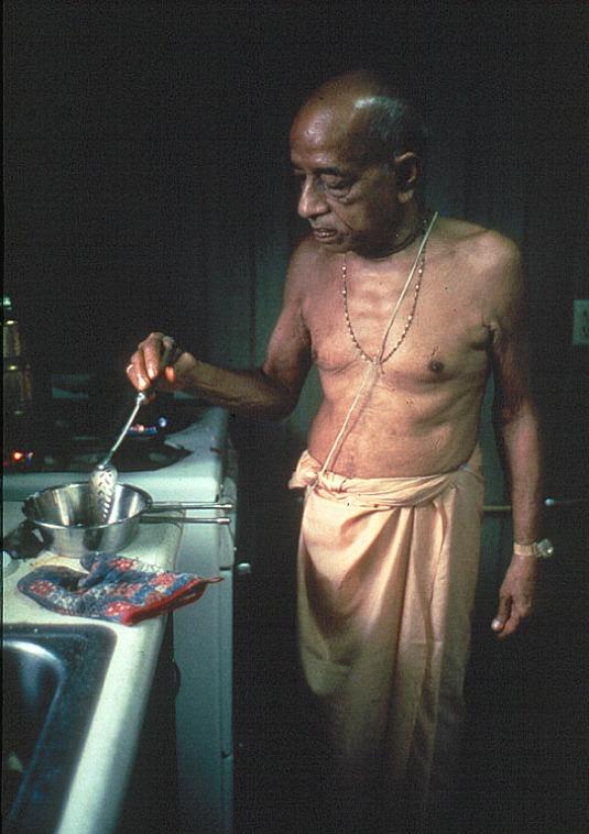 Srila Prabhupada cooking