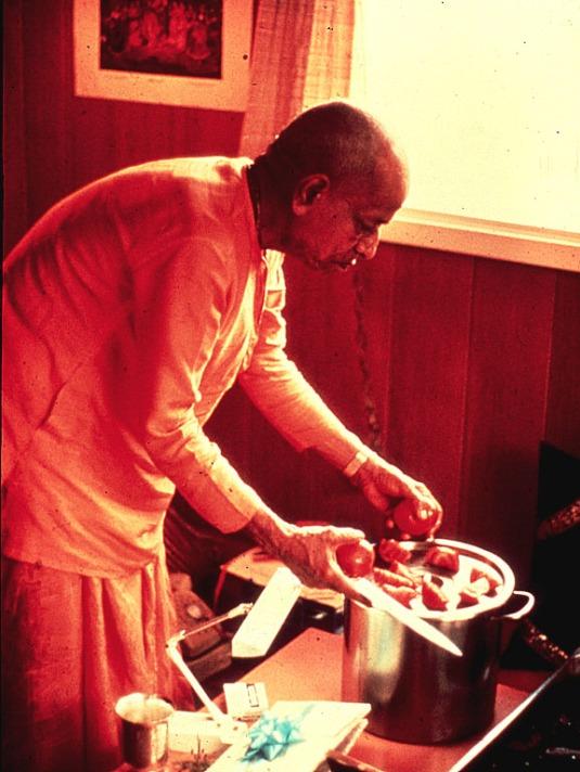 Srila Prabhupada cooking offering
