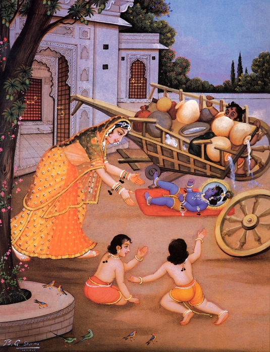 Krishna kicking cart