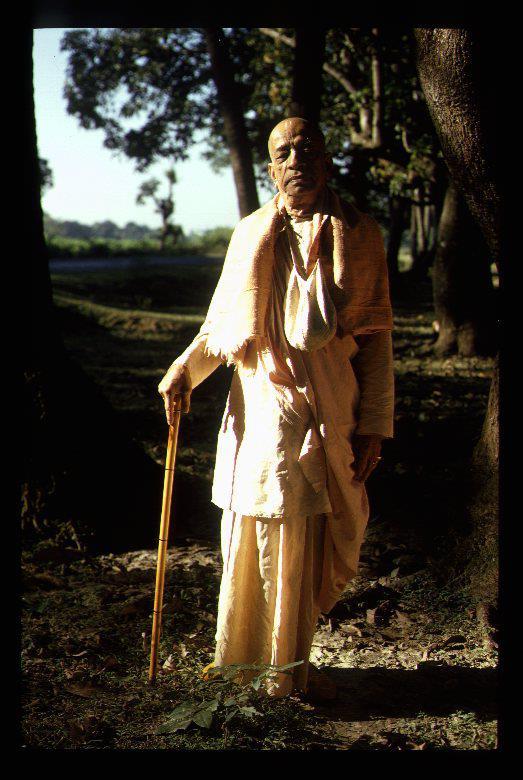 Srila Prabhupada with cane