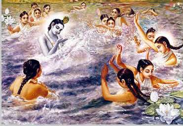 Krsna splashing the gopis by Shyamarani devi