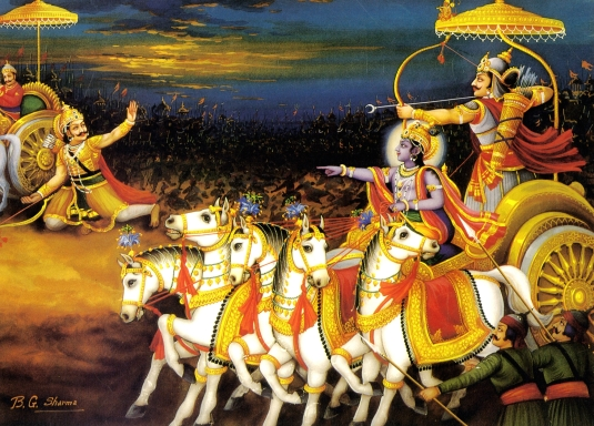 Krsna and Arjuna  on the Battlefield of Kurushetra
