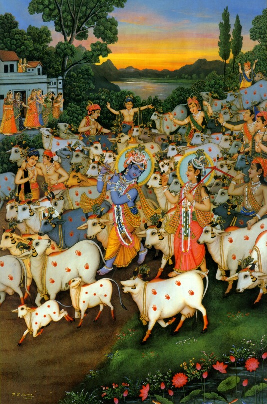 Krishna Balarama and friends and cows
