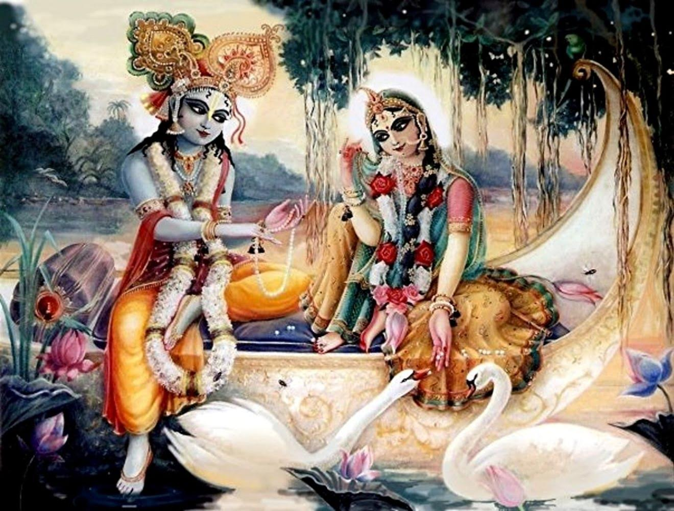 Radha and Krsna boat