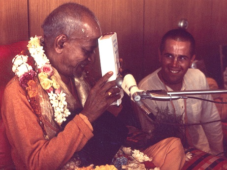 Srila Prabhupada with first Bhagavad-gita As It Is